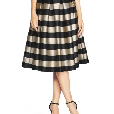 Womens striped taffeta midi skirt