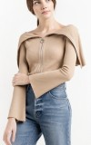 Pixie Market Ribbed Zip off the shoulder sweater