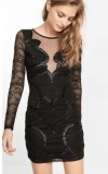 LACE AND SEQUIN EMBELLISHED SHEATH DRESS